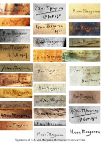Vraies et fausses signatures d'Hans Van Meegeren